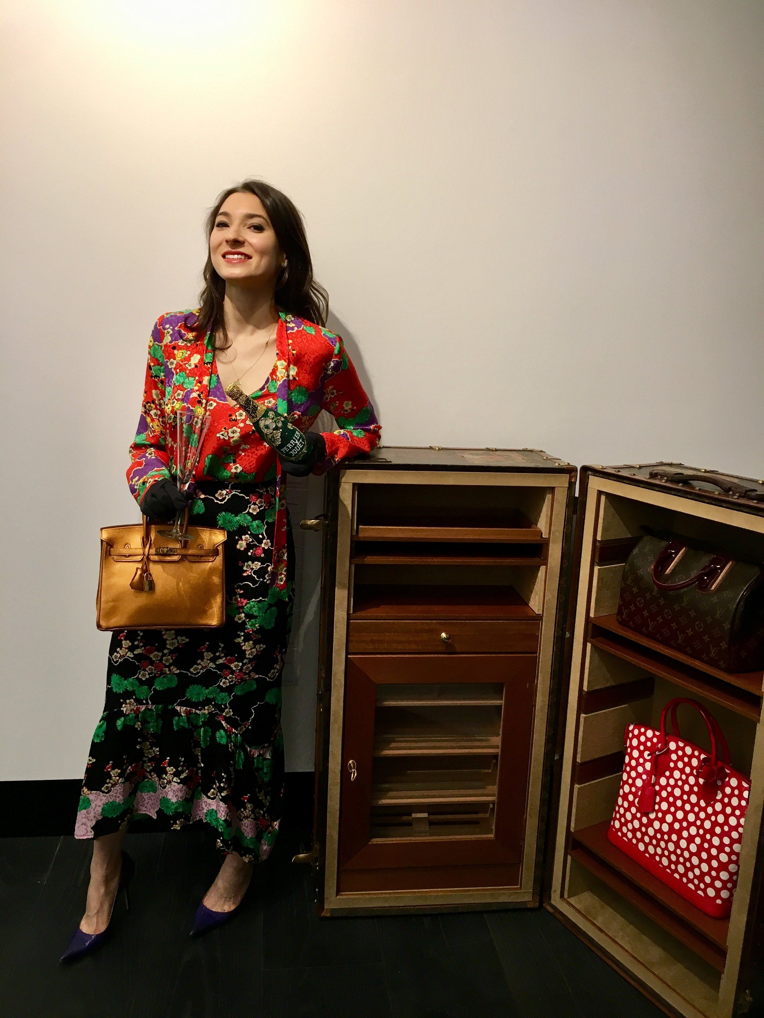 Rachel Koffsky at Christie's with a Metallic Bronze Birkin that sold for €100.000 in Paris, 2017