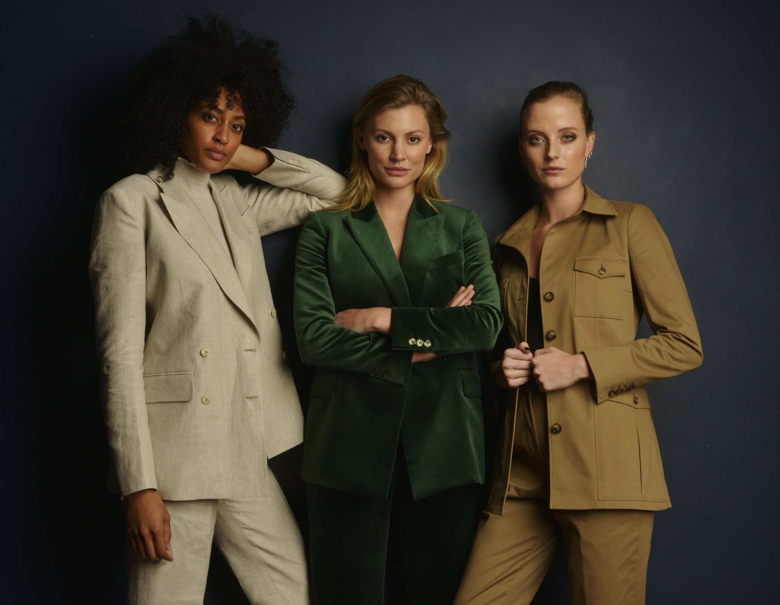 The Club in Oatmeal Linen, the Spade in Green Velvet and the Diamond in Camel Cotton