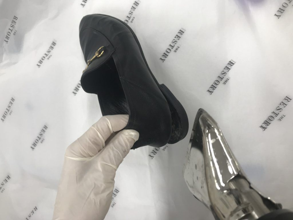 Removing the heel - Dog chewed Guccis