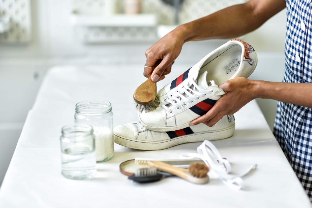 Clean your trainers with a soft brush or soft toothbrush