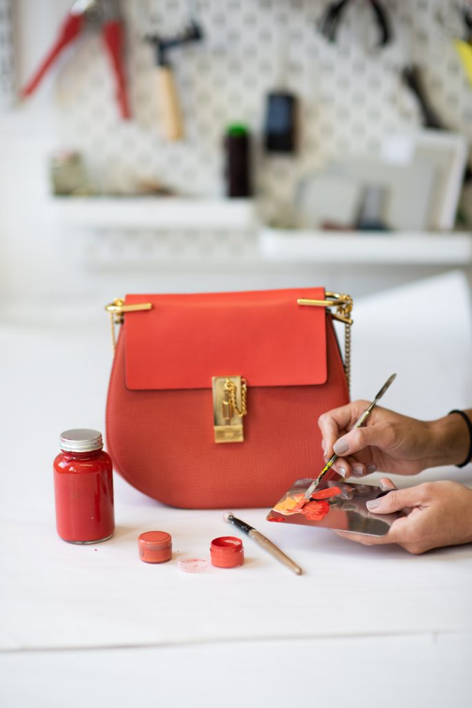 Expert aftercare for shoes and bags with colour and leather restoration