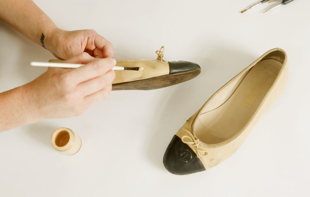 Painting ballet shoe repair